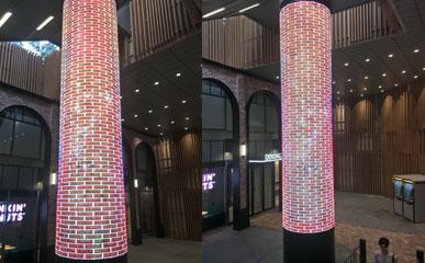 美亚迪P2.5柔性LED圆柱屏亮相韩国地铁站