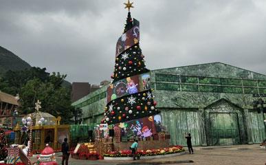 香港海洋公园P4户外LED柔性屏圣诞树-柔性屏案例-美亚迪