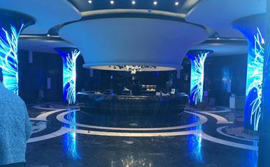 浙江台州英皇KTV P4喇叭屏LED圆柱屏LED柔性屏-创意显示-美亚迪光电