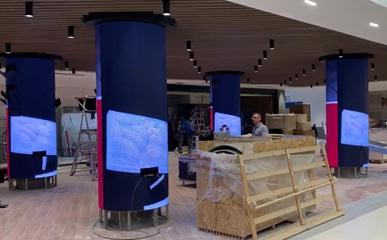 意大利某商场户内P5 LED圆柱屏/LED软模组