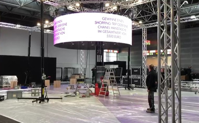 德国展会惊艳亮相P4户内LED圆柱型显示屏