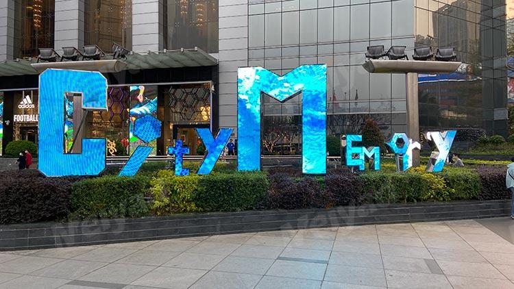广州商业广场P5户外LOGO艺术屏LED字母屏Logo屏